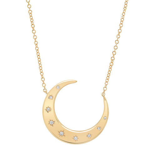 14K gold crescent pendant necklace diamond stars sachi fine jewelry constellation