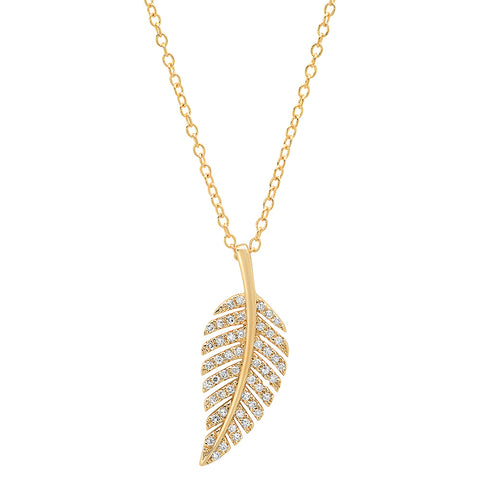 14K solid yellow gold diamond leaf pendant necklace Sachi fine jewelry nature