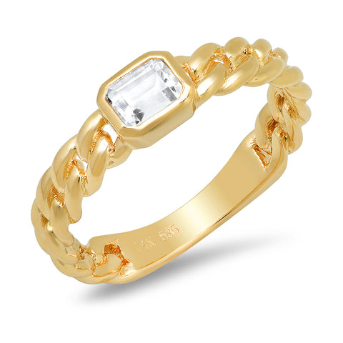 14K solid yellow gold white topaz chain link ring Sachi fine jewelry
