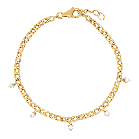 Gold Link Bracelet With Diamond Dangle