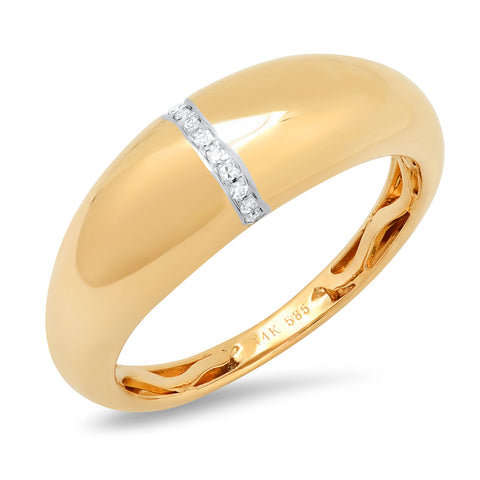 Domed Gold Ring With Pave Diamonds