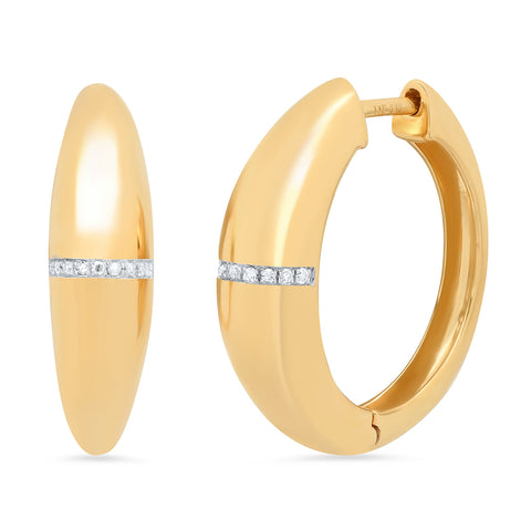 14K gold domed diamond line hoops sachi jewelry