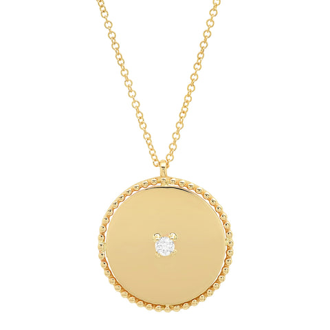 14K gold disc pendant diamond stud long necklace sachi jewelry