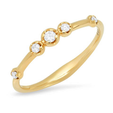 14K gold 5 diamond bezel staggered ring sachi fine jewelry stacking unique
