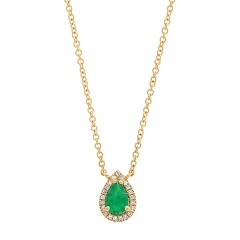 14K gold emerald pear diamond pendant necklace sachi jewelry statement
