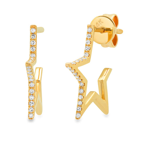 14K gold open star diamond earrings hip sachi jewelry