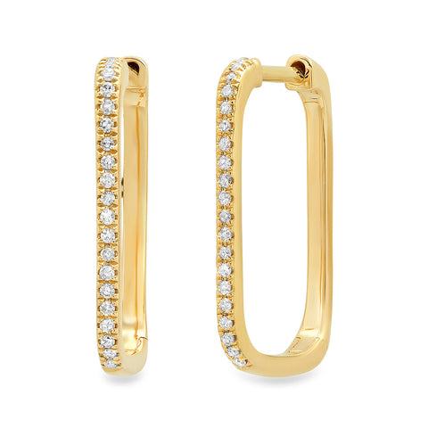 14K gold diamond rectangle long huggies sachi jewelry