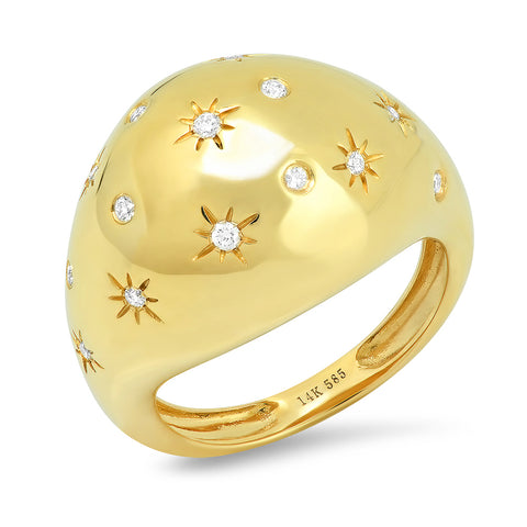Domed Constellation Gold Ring