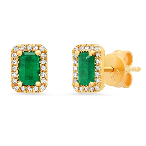 Emerald Baguette Diamond Earrings