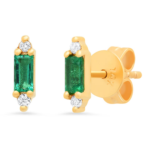 14K gold Art Deco emerald diamond studs Sachi jewelry trendy