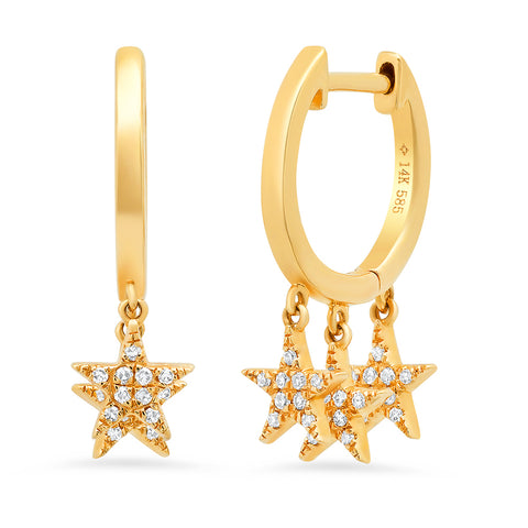 14K gold diamond triple star diamond dangle huggies constellation