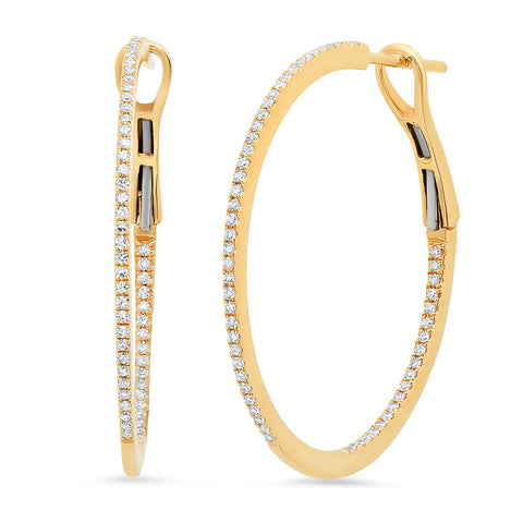 14K gold diamond hoops classic Sachi jewelry