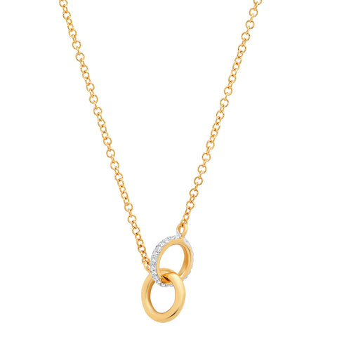 14K gold double circle diamond necklace Sachi fine jewelry