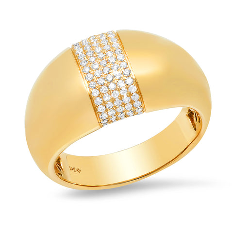 14K solid gold domed pave diamond ring