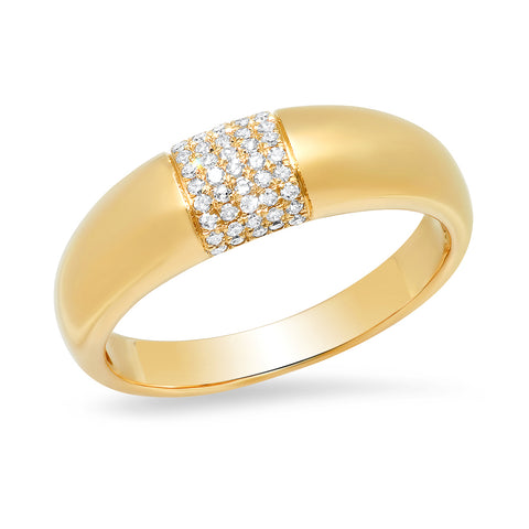 14K solid gold domed ring with pave diamonds
