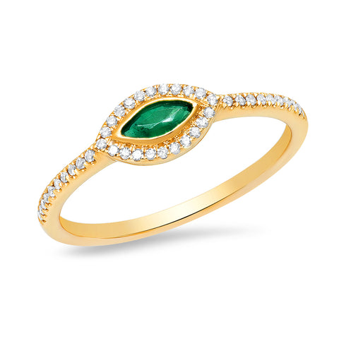 14K gold diamond emerald marquise ring Art Deco Sachi jewelry