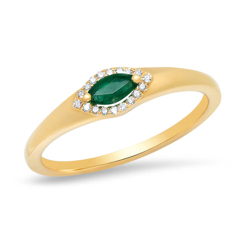 14K gold marquise emerald diamond Art Deco band Sachi jewelry