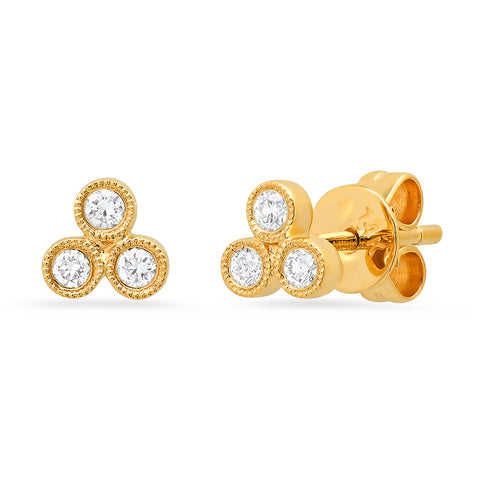 Sachi fine jewelry 14K gold diamond trio stud earrings