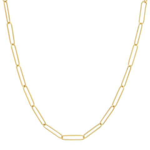 "14K solid gold paperclip chain necklace 16"" 18"" trendy layer"