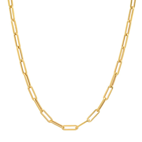 Hollow Paperclip Gold Chain
