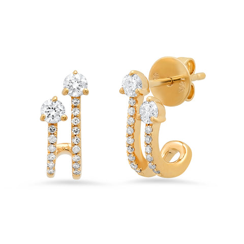 14K gold double drop diamond loop earrings Sachi fine jewelry