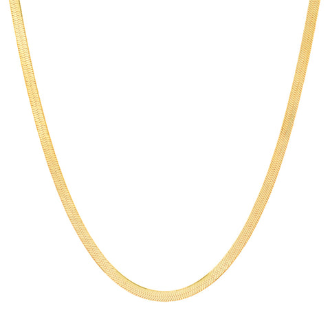 14K Gold 3 MM Herringbone Adjustable Necklace