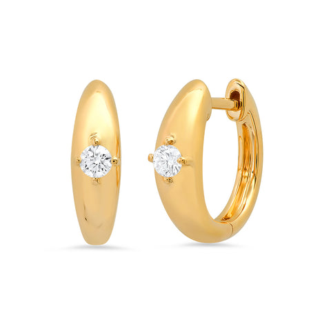 14k solid gold chubby diamond stud huggies trendy