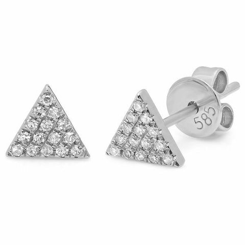 small triangle diamond studs earrings 14K white gold sachi jewelry