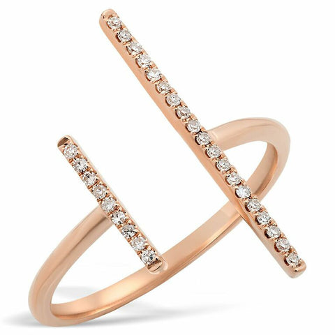 uneven bar diamond ring 14K rose gold sachi jewelry