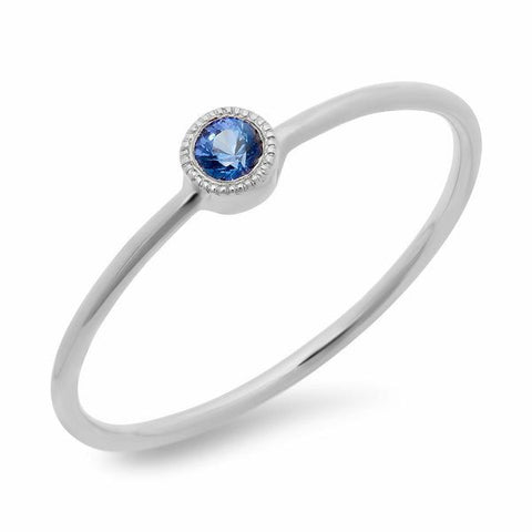 dainty bezel sapphire ring 14K white gold stacking sachi jewelry