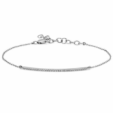 delicate dainty micro bar bracelet 14K white gold sachi fine jewelry stacking