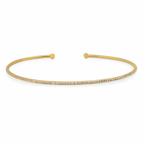 micro diamond cuff bracelet 14K yellow gold sachi jewelry