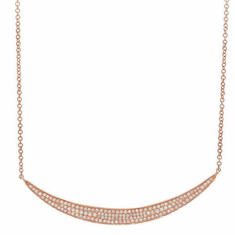 wide crescent diamond necklace 14K rose gold sachi jewelry