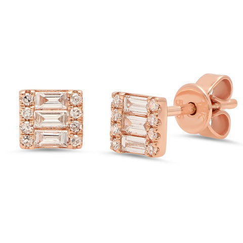 dainty square baguette diamond studs 14K rose gold sachi jewelry