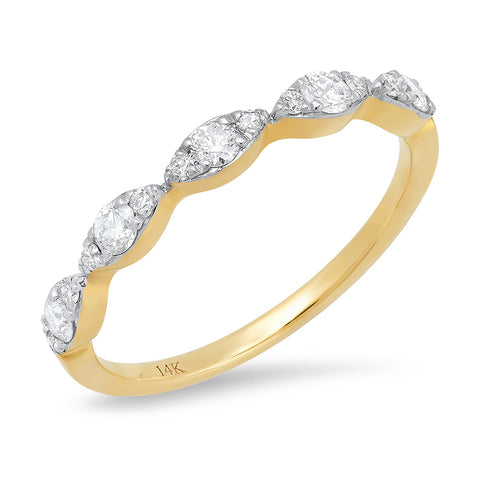 14K gold large diamond marquise stacking band sachi jewelry