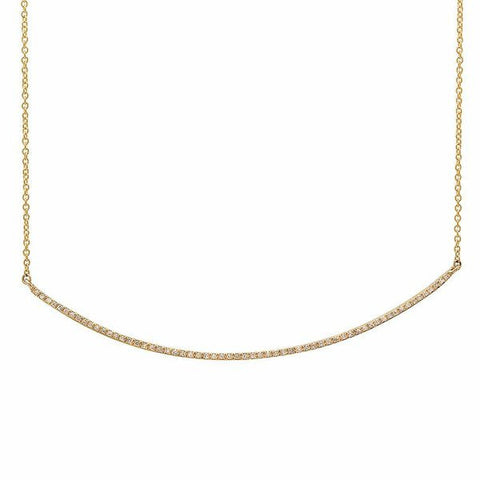 delicate dainty micro curve diamond necklace 14K yellow gold sachi jewelry