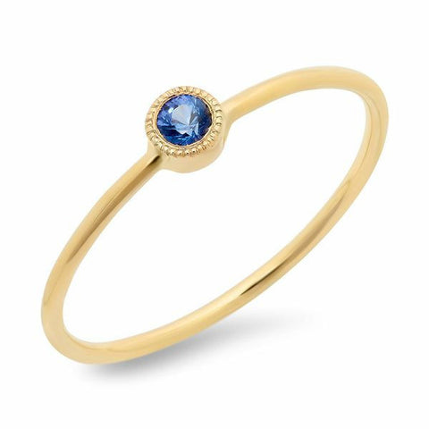 dainty bezel sapphire ring 14K yellow gold stacking sachi jewelry