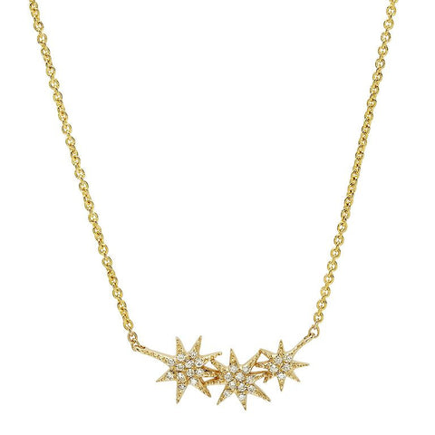 delicate triple starburst diamond necklace 14K yellow gold sachi jewelry