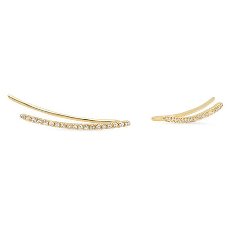 micro curve diamond crawlers earrings 14K yellow gold sachi jewelry