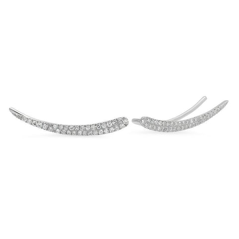 double row curve crawler diamond earrings 14K white gold jewelry