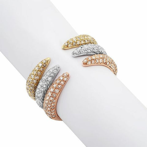 stack pointed claw diamond ring 14K yellow white rose gold sachi jewelry