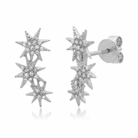 triple starburst diamond studs earrings 14K white gold sachi jewelry