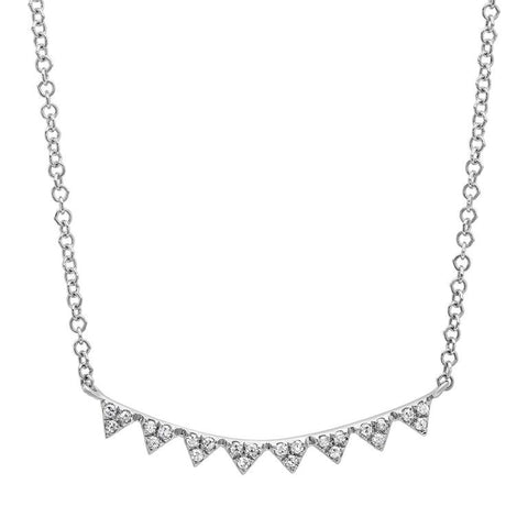 mini triangle curve diamond necklace 14K white gold sachi jewelry