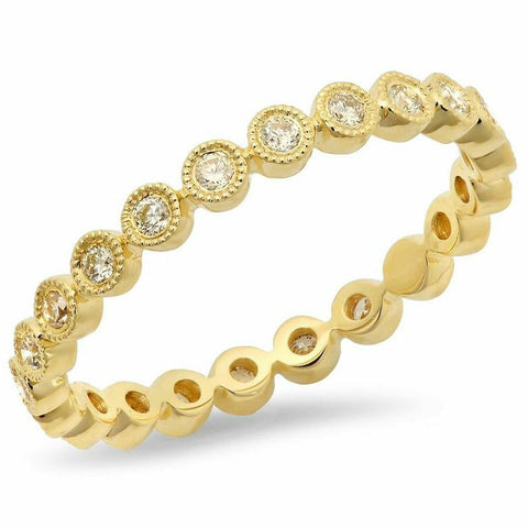 diamond bezel milgrain eternity band ring 14K yellow gold sachi jewelry