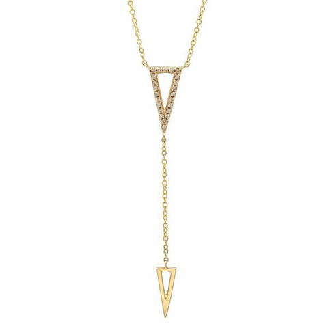 delicate triangle diamond lariat necklace 14K yellow gold sachi jewelry