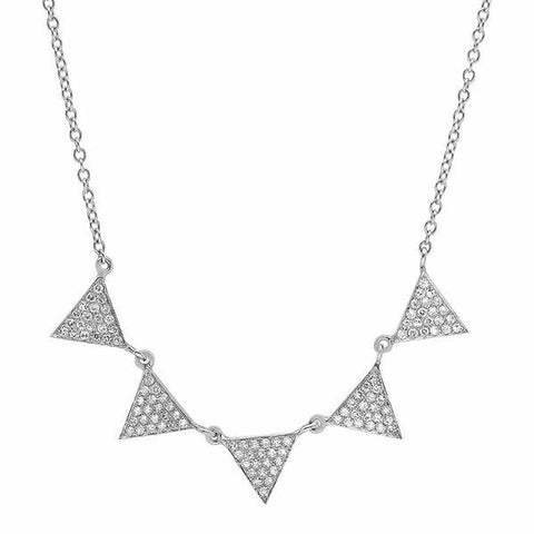 multi triangle drop diamond necklace 14K white gold sachi jewelry