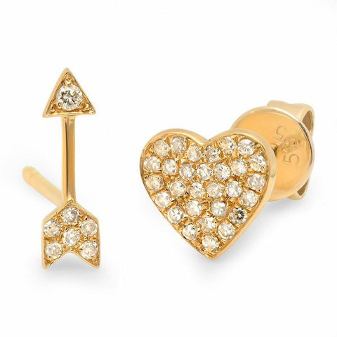 heart arrow studs earrings diamond 14K yellow gold sachi jewelry
