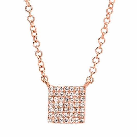 mini pave square diamond necklace 14K rose gold sachi jewelry