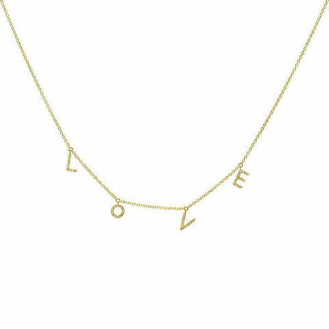 delicate dainty love diamond necklace 14K yellow gold sachi jewelry