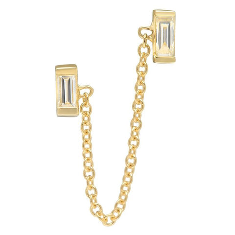 double baguette diamond chain loop earring diamond 14K yellow gold sachi jewelry